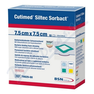 Cutimed Siltec Sorbact 7.5x7.5cm antimikr.kr.10ks