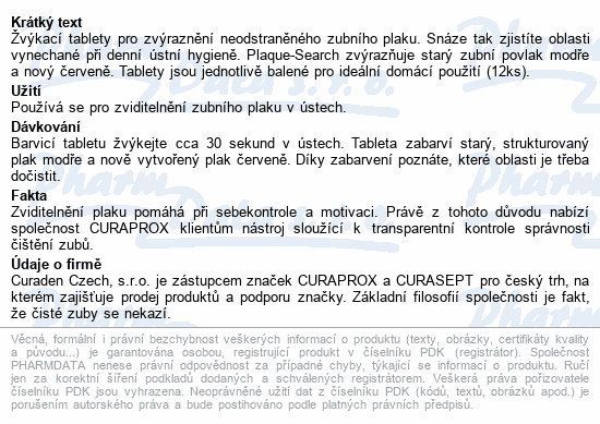 CURAPROX PCA 223 tablety na indikaci plaku 12ks
