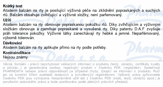 BIODERMA Atoderm balzám na rty 15ml
