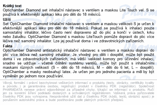 Optichamber Diamond set inhalační nástavec+Maska S