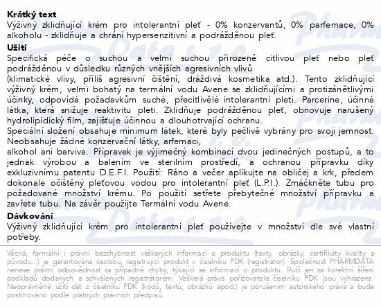AVENE Výživ.krém pro intolerantní pleť (CPI) 50ml