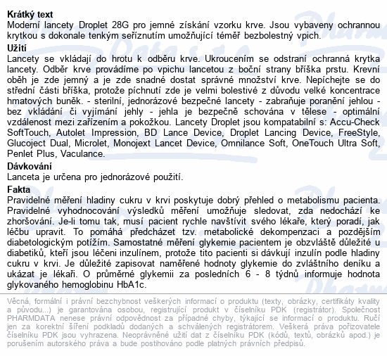 Lanceta Droplet 28G 100ks