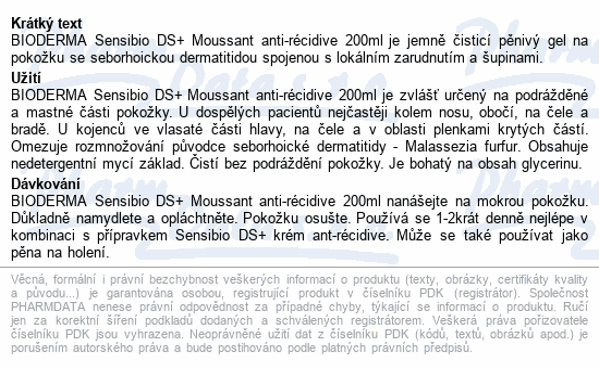 BIODERMA Sensibio DS+ Gel moussant 200ml