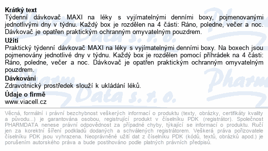 MEDIDOS Dávkovač na léky a potrav.dop.týdenní MAXI