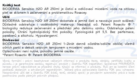 BIODERMA Sensibio H2O AR 250ml