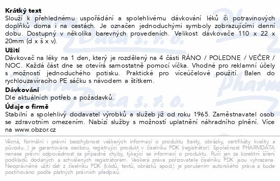 Dávkovač léků OBZOR typ 04 denní modrý