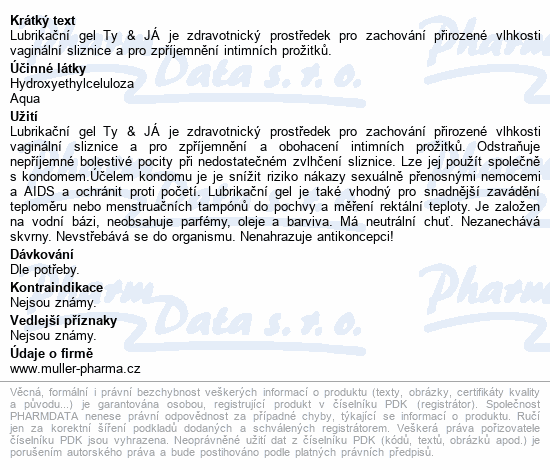 Lubrik.gel Ty&Já neparfemovaný 50ml Dr.Müller